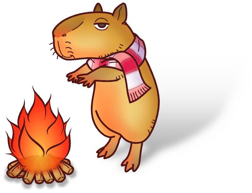無料年賀状イラスト素材04_v01 焚き火にあたる鬼天竺鼠(カピバラ)