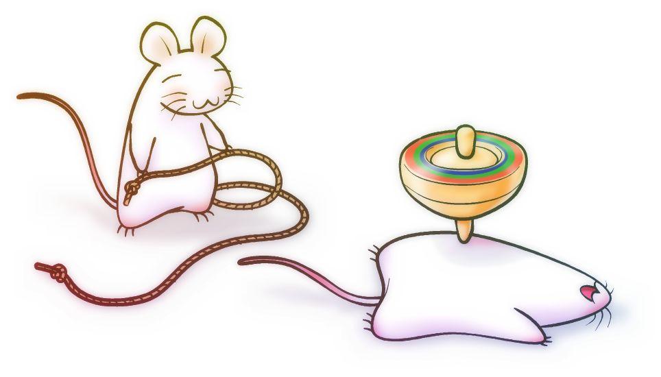 年賀状用 無料イラスト素材07 独楽と鼠