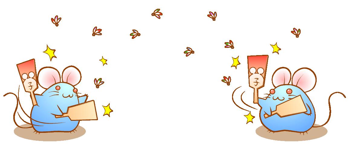 無料 年賀状イラスト素材09 羽つきネズミ