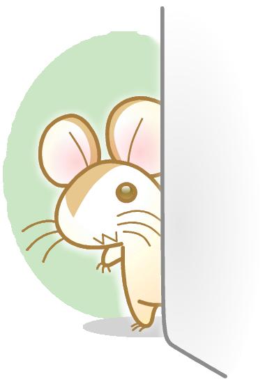 年賀状 無料イラスト素材12v08 こっちを覗いている子ネズミ